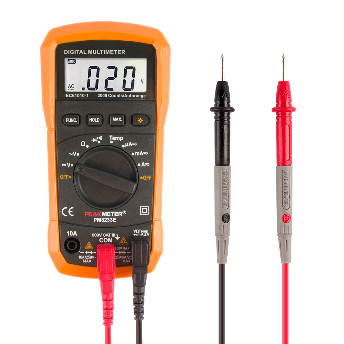 DMiotech MS8233E Auto Range Digital Multimeter AC DC Current Voltage Diode Temperature Tester w LCD Back Light