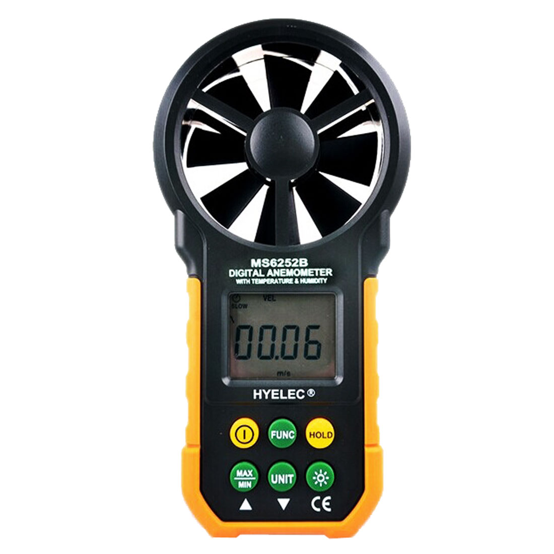 MS6252B Handheld Digital LCD Display Anemometer Wind Speed Meter Air Flow Tester USB