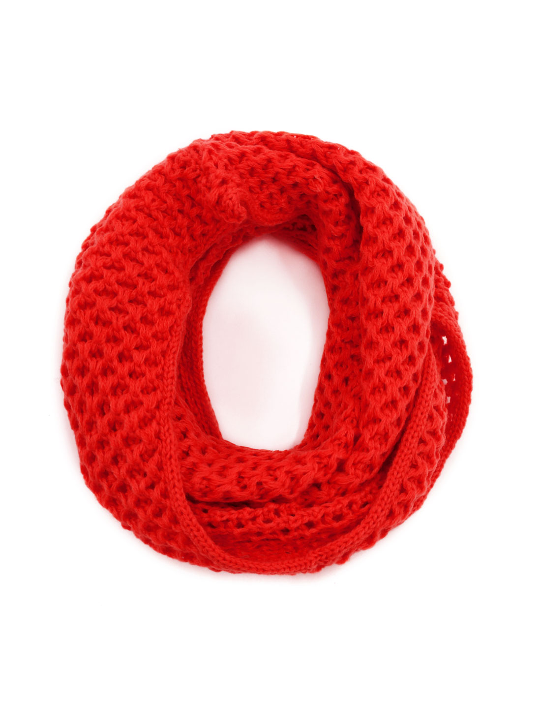 Unisex Winter Wearing Hollow Out Knitted Circle Scarf Red