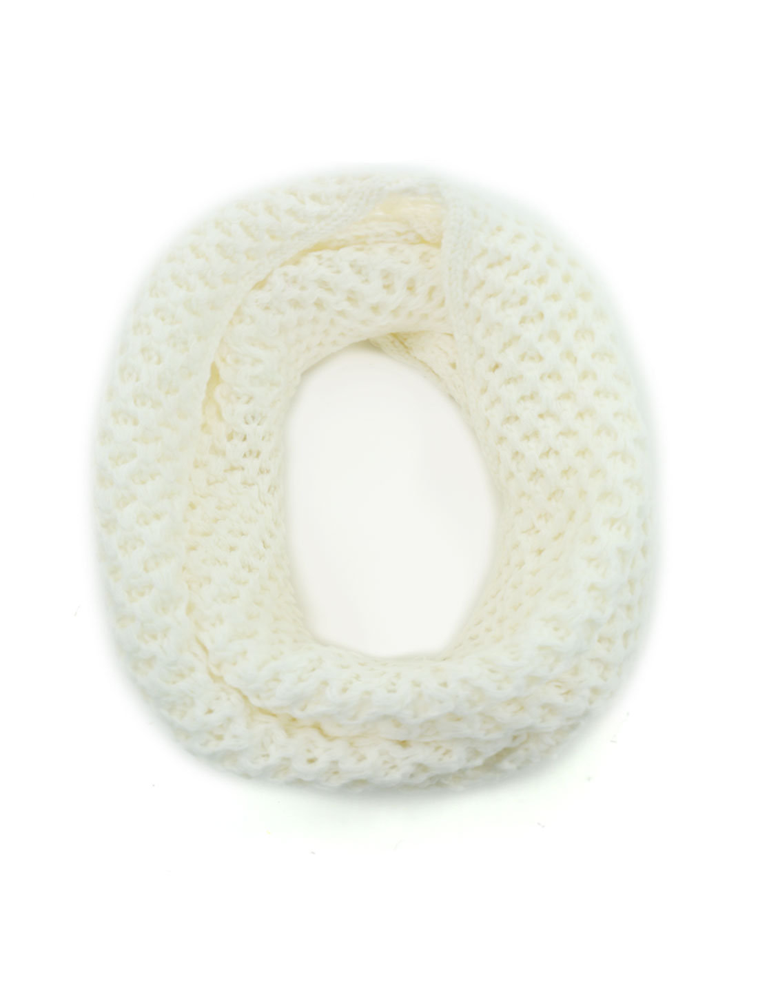 Unisex Winter Wearing Hollow Out Knitted Circle Scarf White
