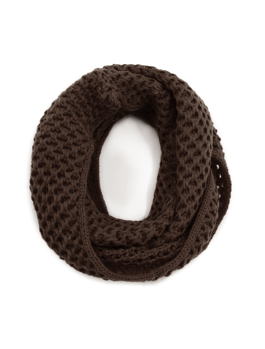Unisex Winter Wearing Hollow Out Knitted Circle Scarf Brown