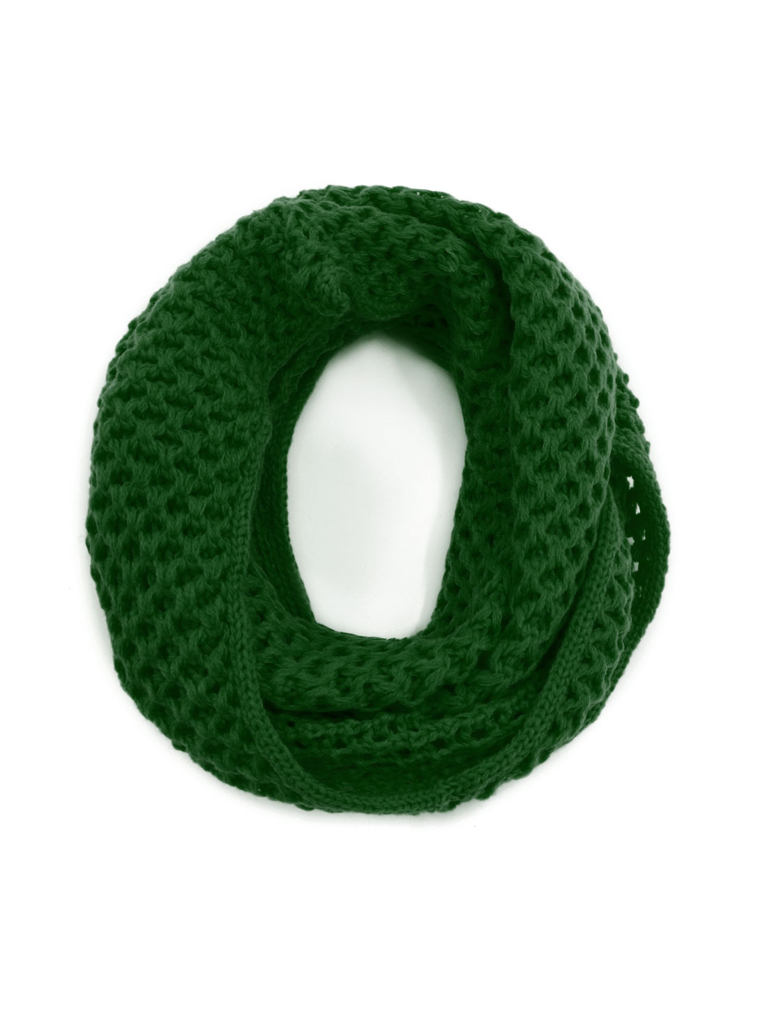 Unisex Winter Wearing Hollow Out Knitted Circle Scarf Green