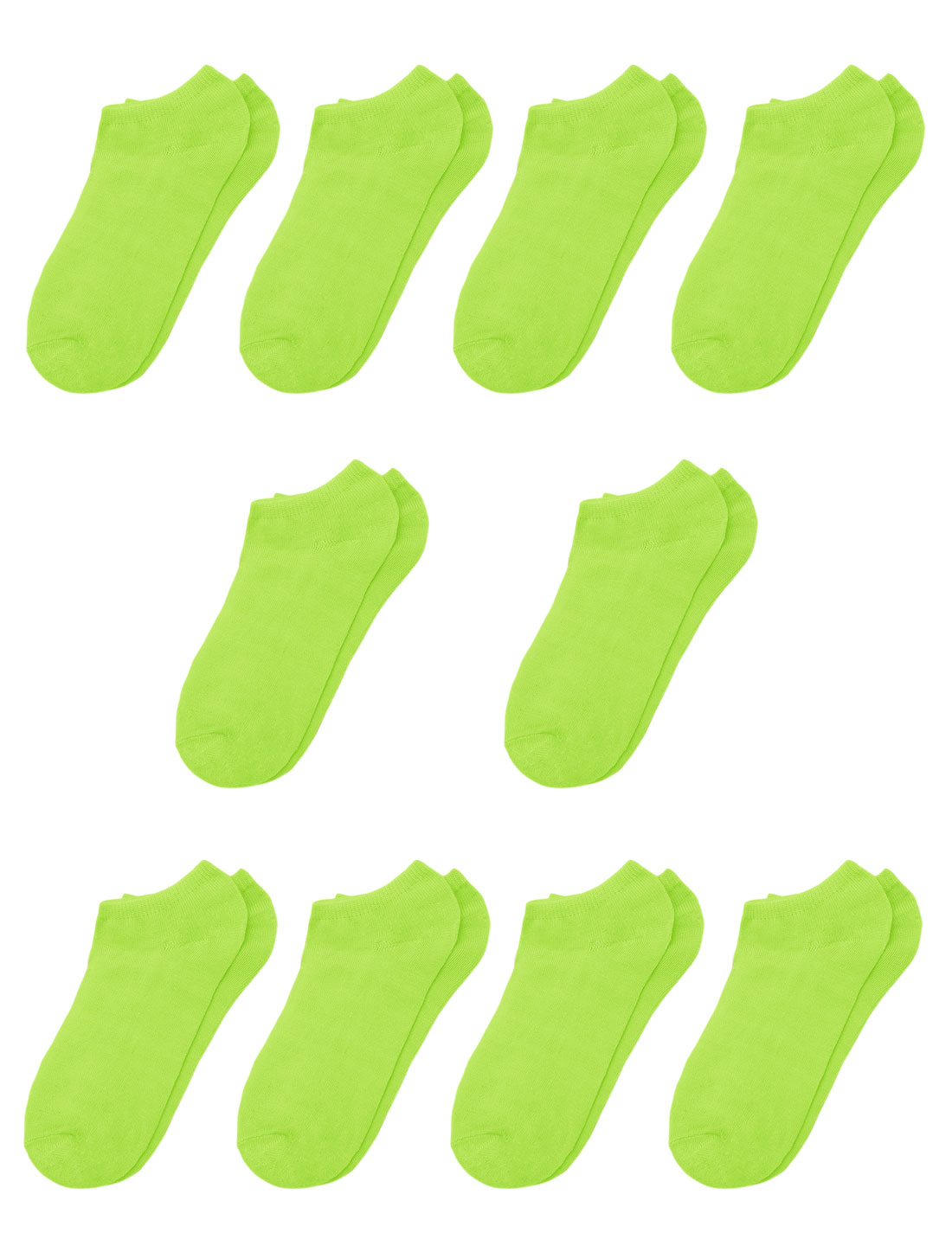 Girls Low Cut Stretch Cuffs Ankle Socks 10 Pairs Green