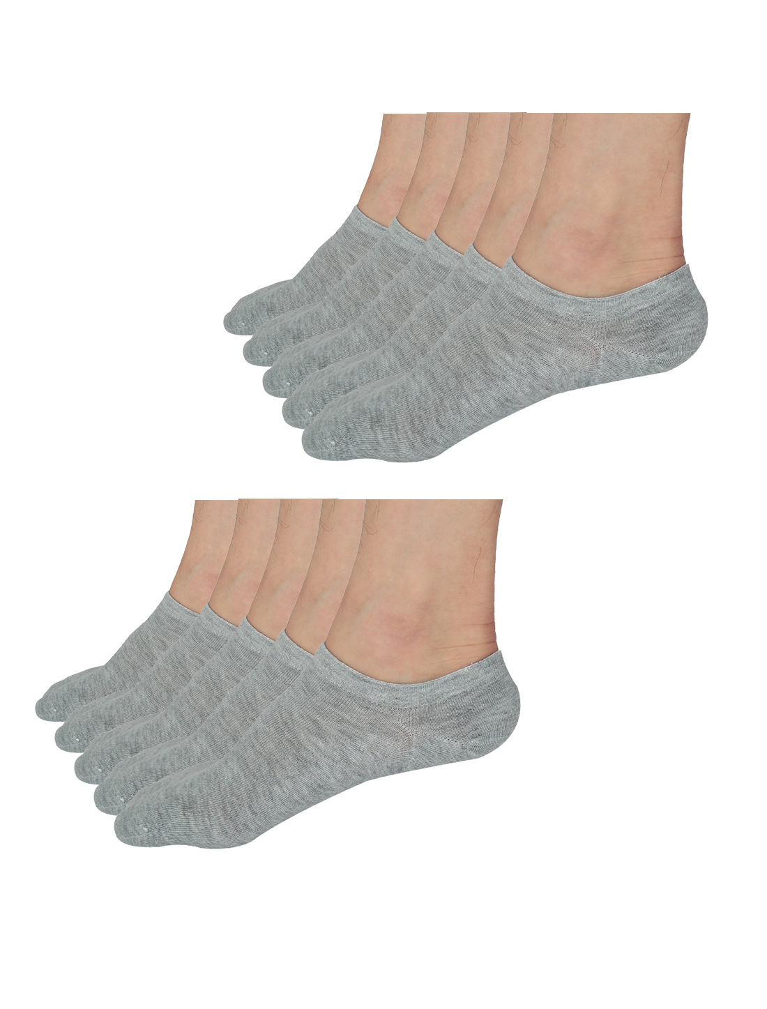 Men Elastic Cuff Low Cut Ankle Socks 10 Pairs Light Gray