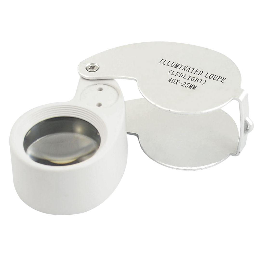 Pocket LED Light Illuminated Magnifier Jewelry Eye 40X Magnifying Loupe