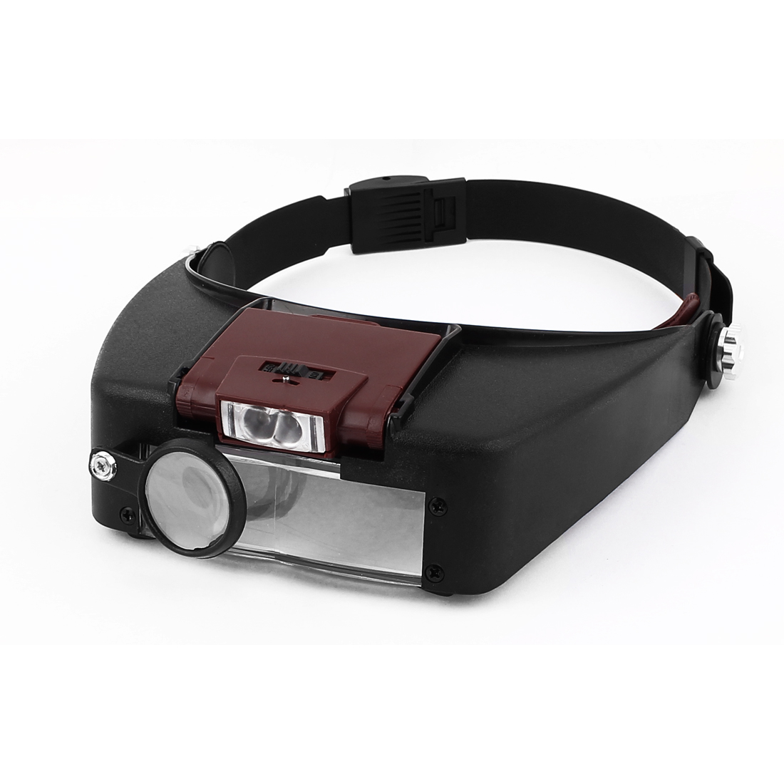 Adjustable Headband 2 LED Head Light Magnifier Magnifying Glasses