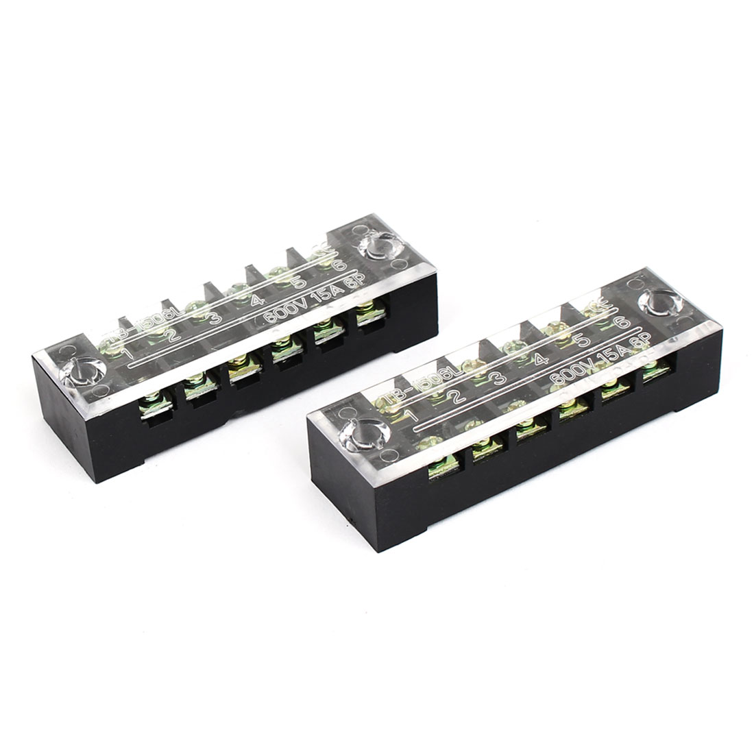 2 Pcs TB-1506L Dual Rows 6 Positions 6P Terminal Blocks Barrier 600V 15A