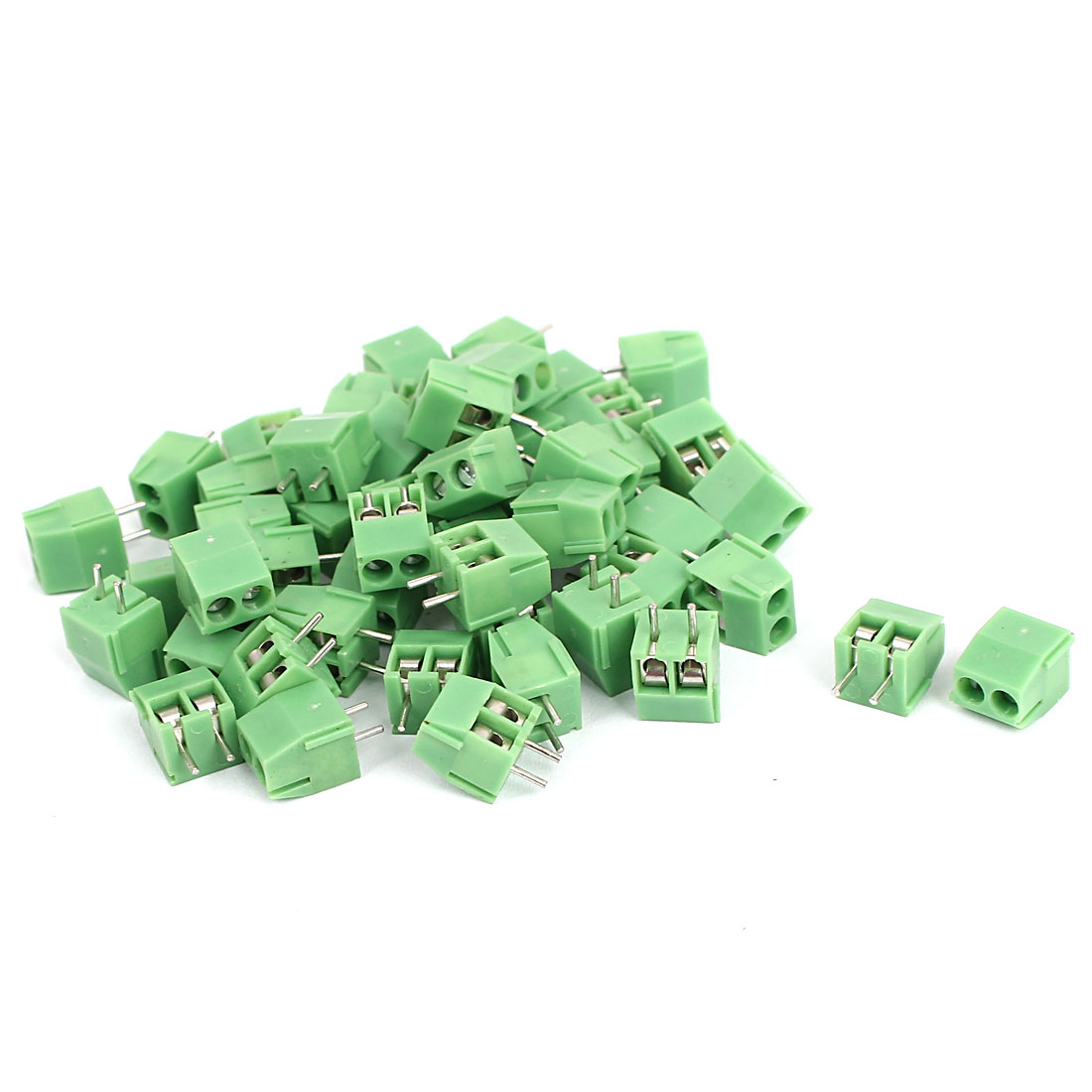 50 Pcs 2 Pin Screw Terminal Block Connector 3.5mm Pitch Panel PCB Mount Green