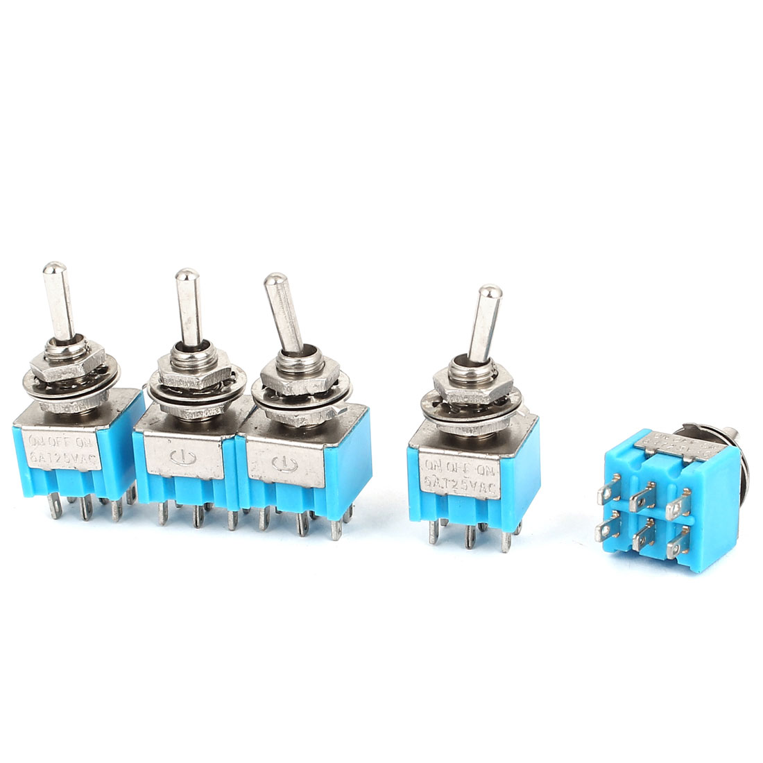 125V 6A DPDT ON OFF ON 3 Positions 6 Terminals Toggle Switch 5 Pcs