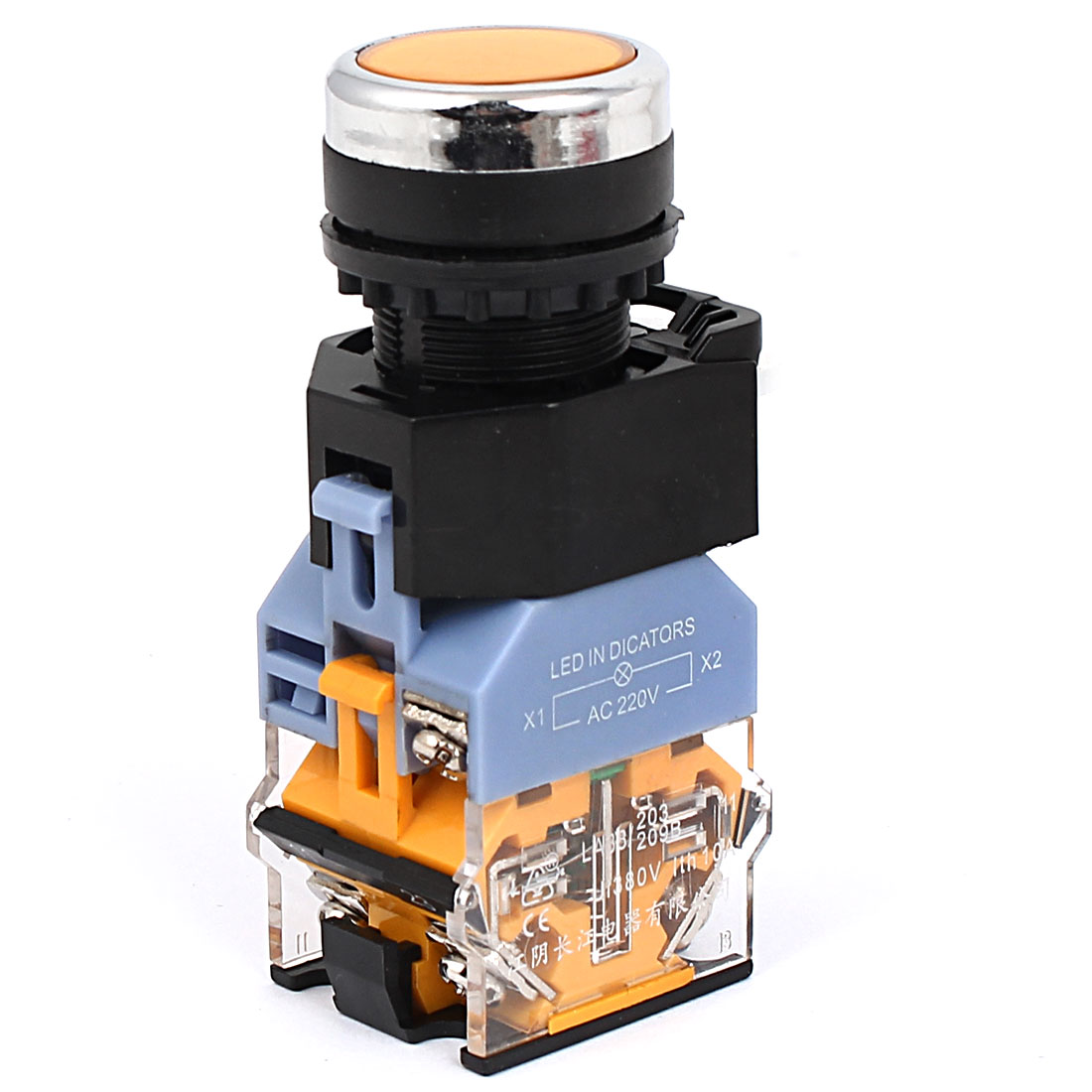 Yellow Indicator Momentary 1NO 1NC Push Button Switch 660V 10A