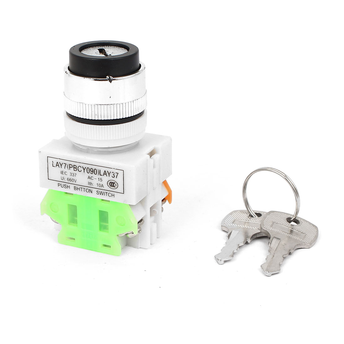 AC 660V 10A 1NO 1NC DPST Key Rotary Start Locking Push Button Switch