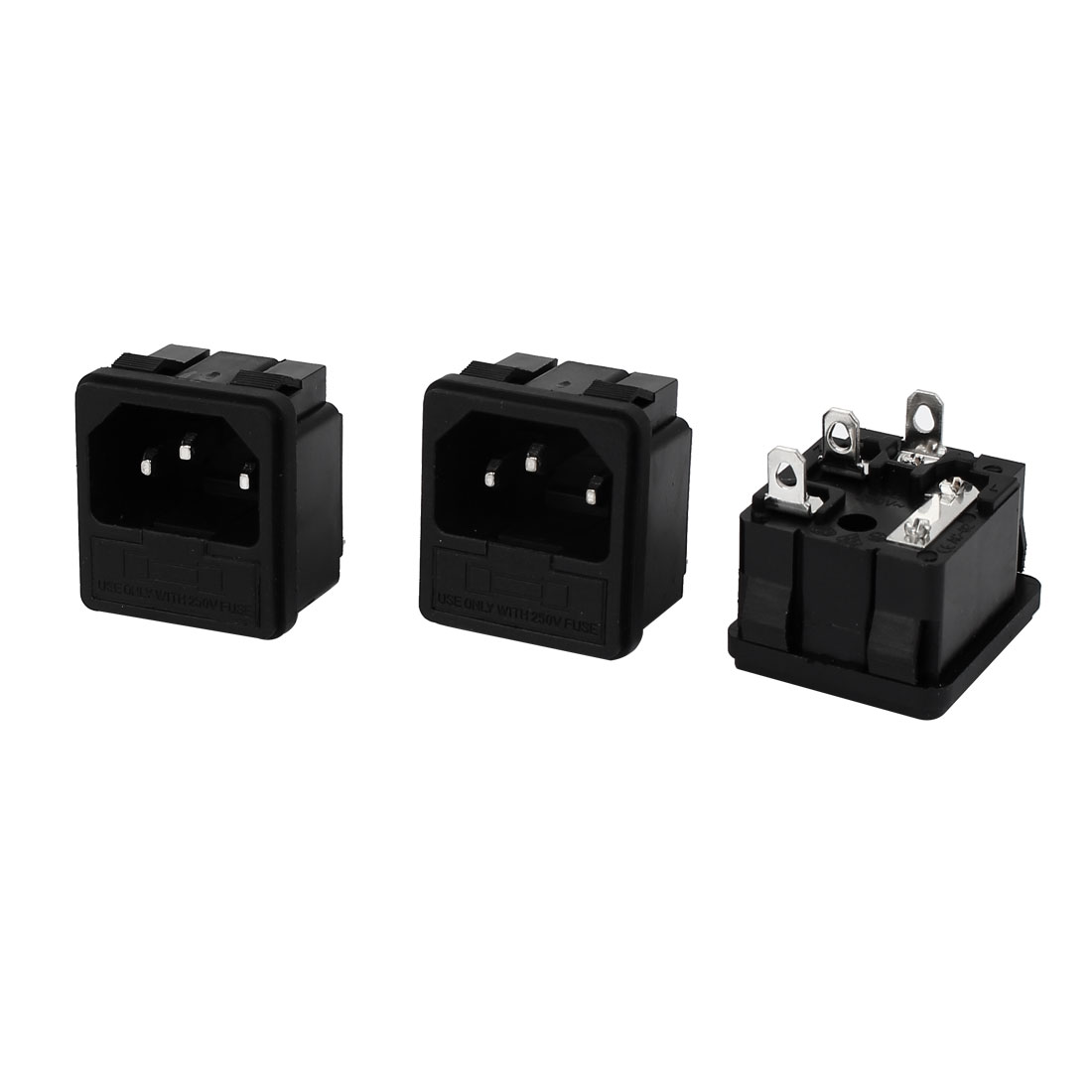 3 Pcs AC 250V 10A Pannel Mounted 3 Terminals IEC 320 C14 Male Plug Inlet Power Socket Black