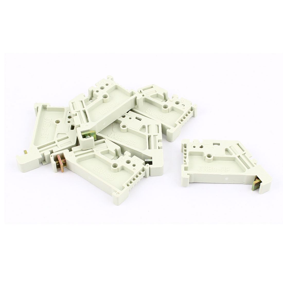 6 Pcs Plastic 35mm DIN Rail Screw Fixed Terminal Block End Stopper Mounting Clips Clamps Connector