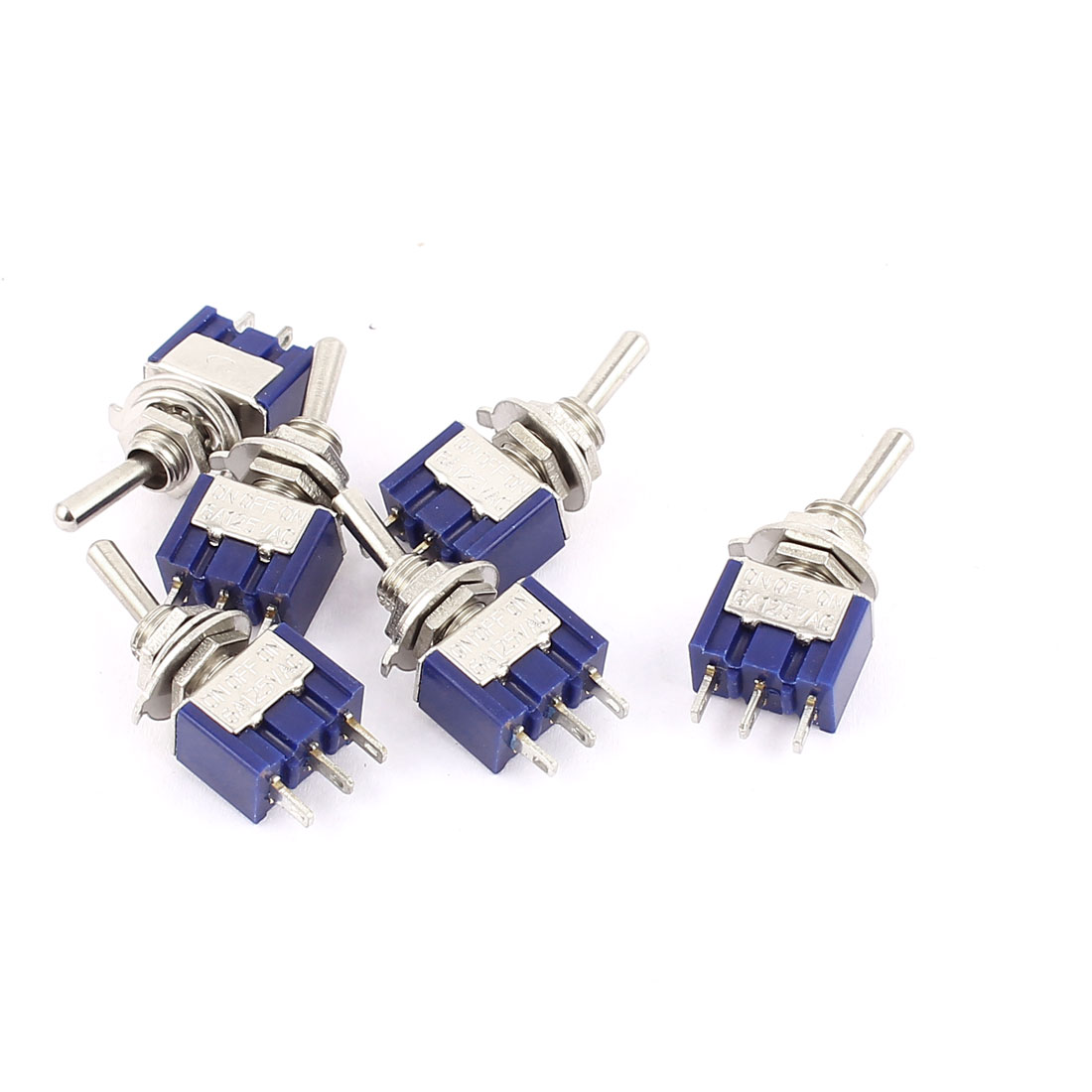 6 Pcs AC125V 6A SPDT ON-OFF-ON 3 Positions 3 Terminals Latching Mini Toggle Switch