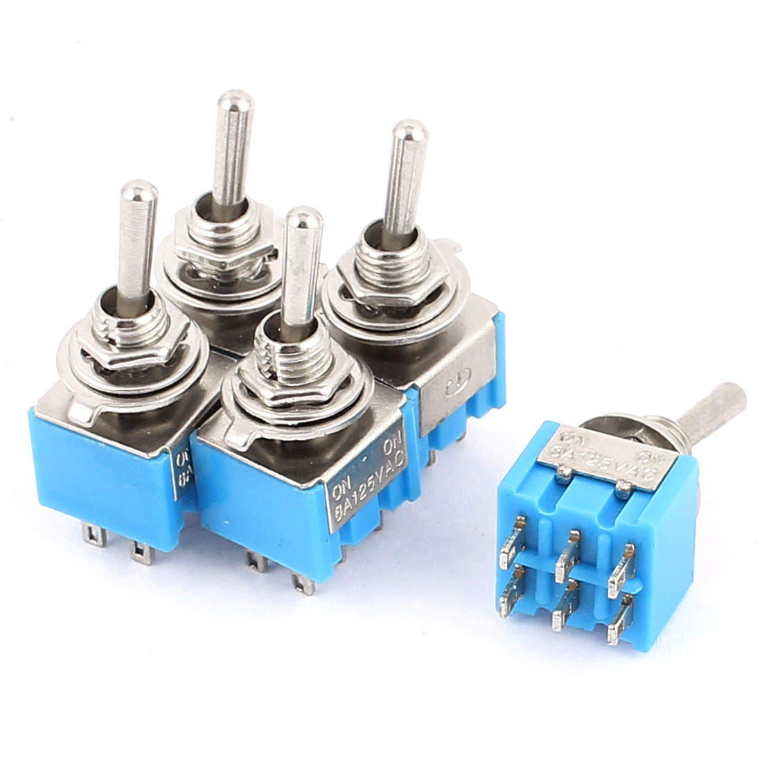5 Pcs AC125V 6A DPDT ON-ON 2 Positions 6 Terminals Latching Miniature Toggle Switch