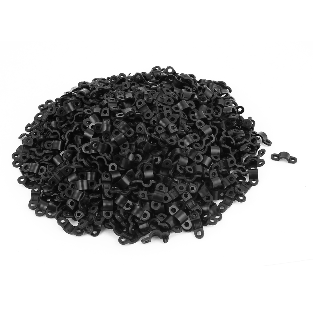 500 Pcs 2mm Dia Arc Shaped Cable Clamp Wire Fastener Fixing Clip Black