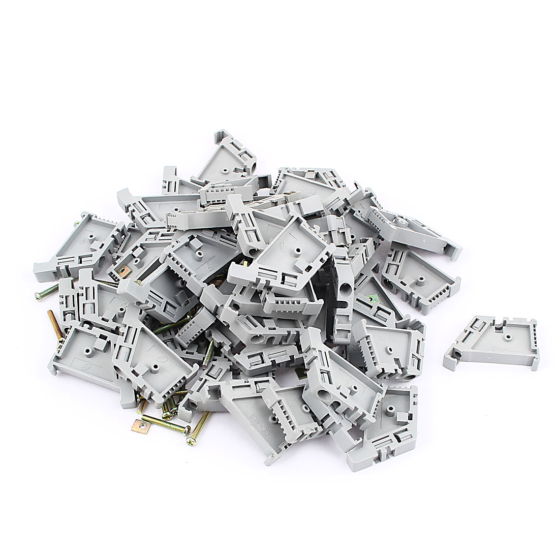 50 Pcs Gray Plastic 35mm DIN Rail Screw Fixed Terminal Block End Stopper Mounting Clips Clamps Connector