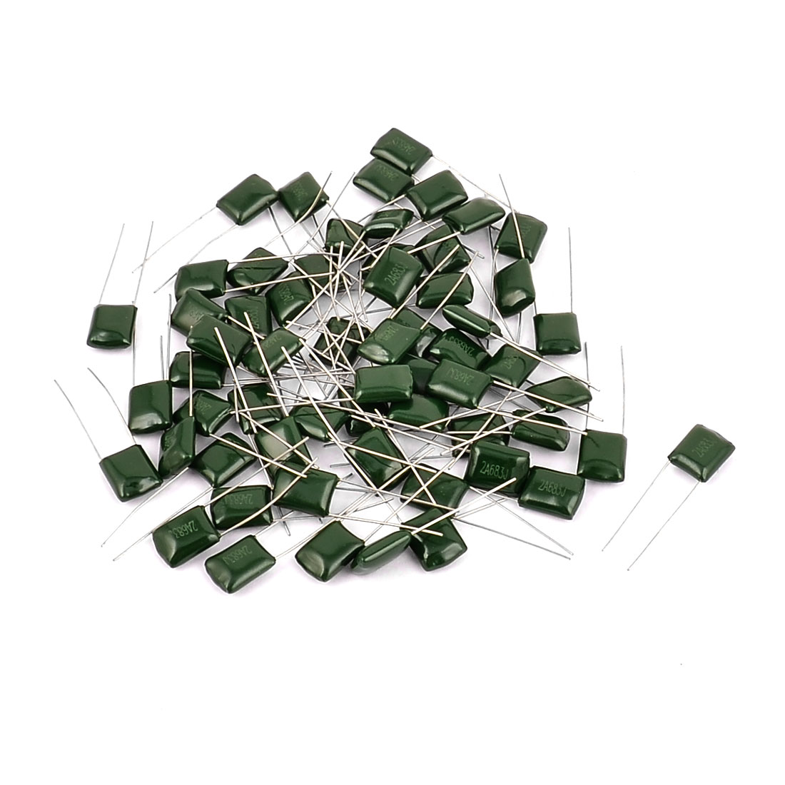 60pcs 2A683J 100V 0.068uF 5% Radial Lead Polyester Film Capacitor