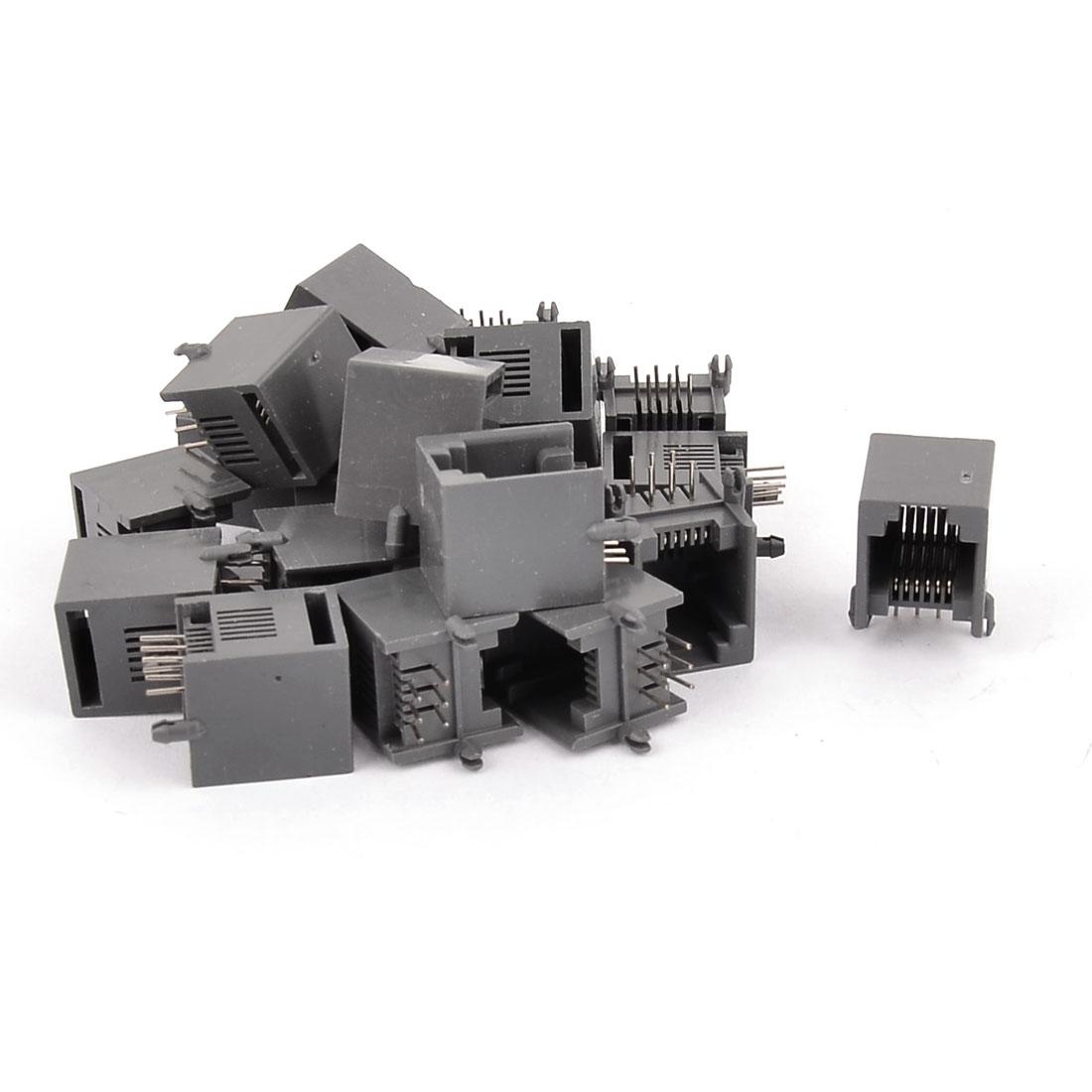 20Pcs RJ12 6P6C Computer Internet Modular Network PCB Jack Socket Gray