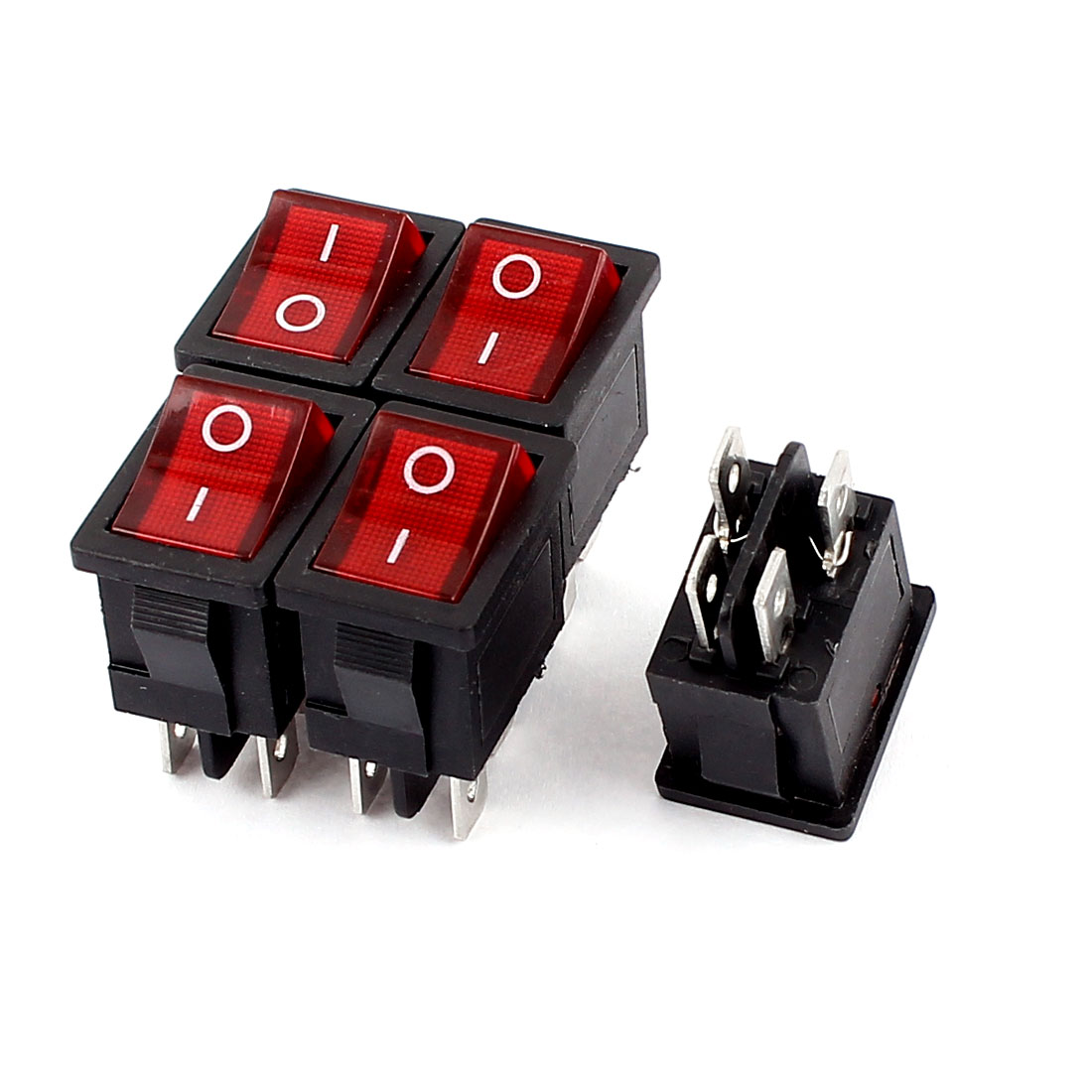 5 Pcs Red Light DPST I/O 2 Position Boat Rocker Switch 6A 250VAC 10A 125V