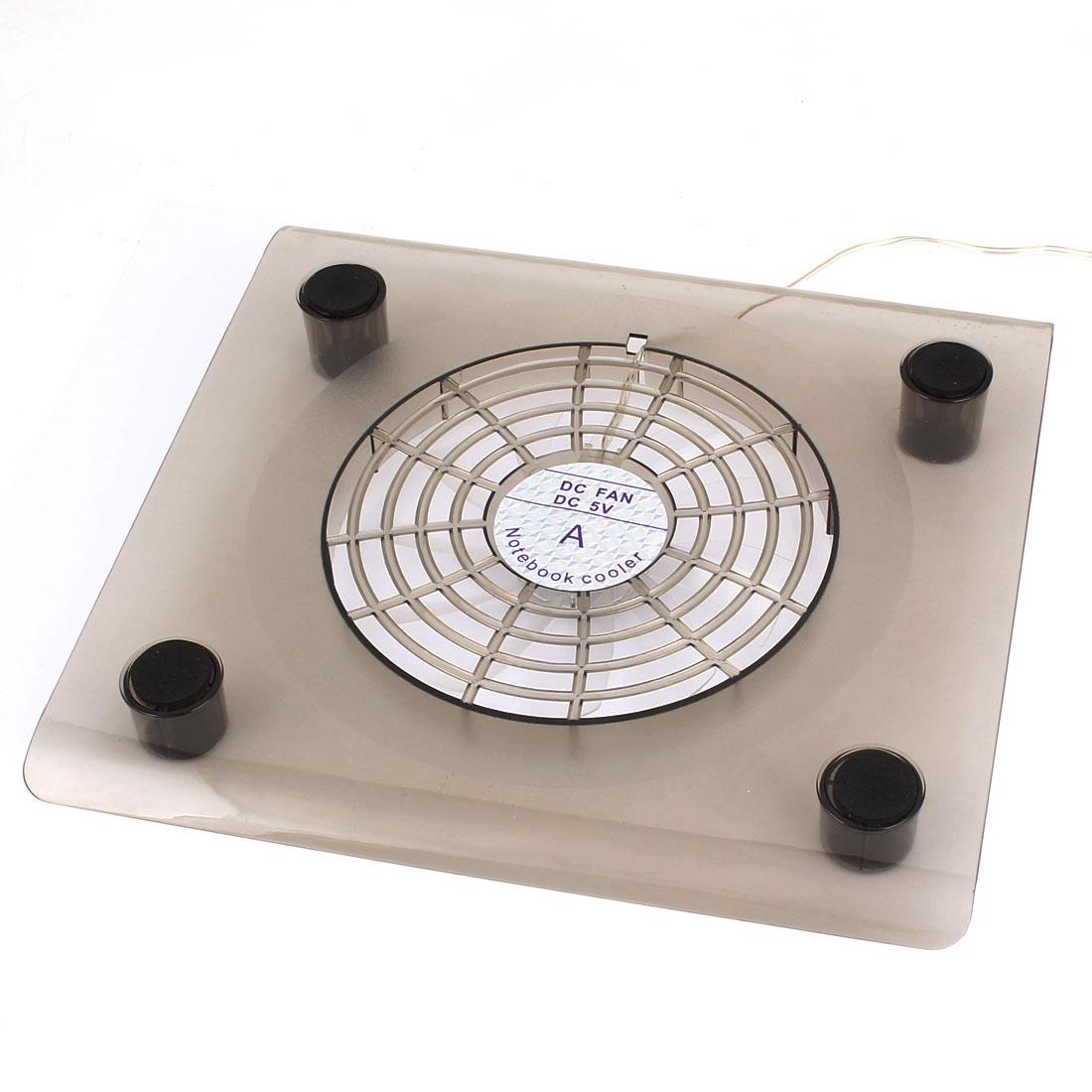 USB 2.0 13.5cm Dia Single Fan 2 LED Lamp Laptop Cooling Pad Gray