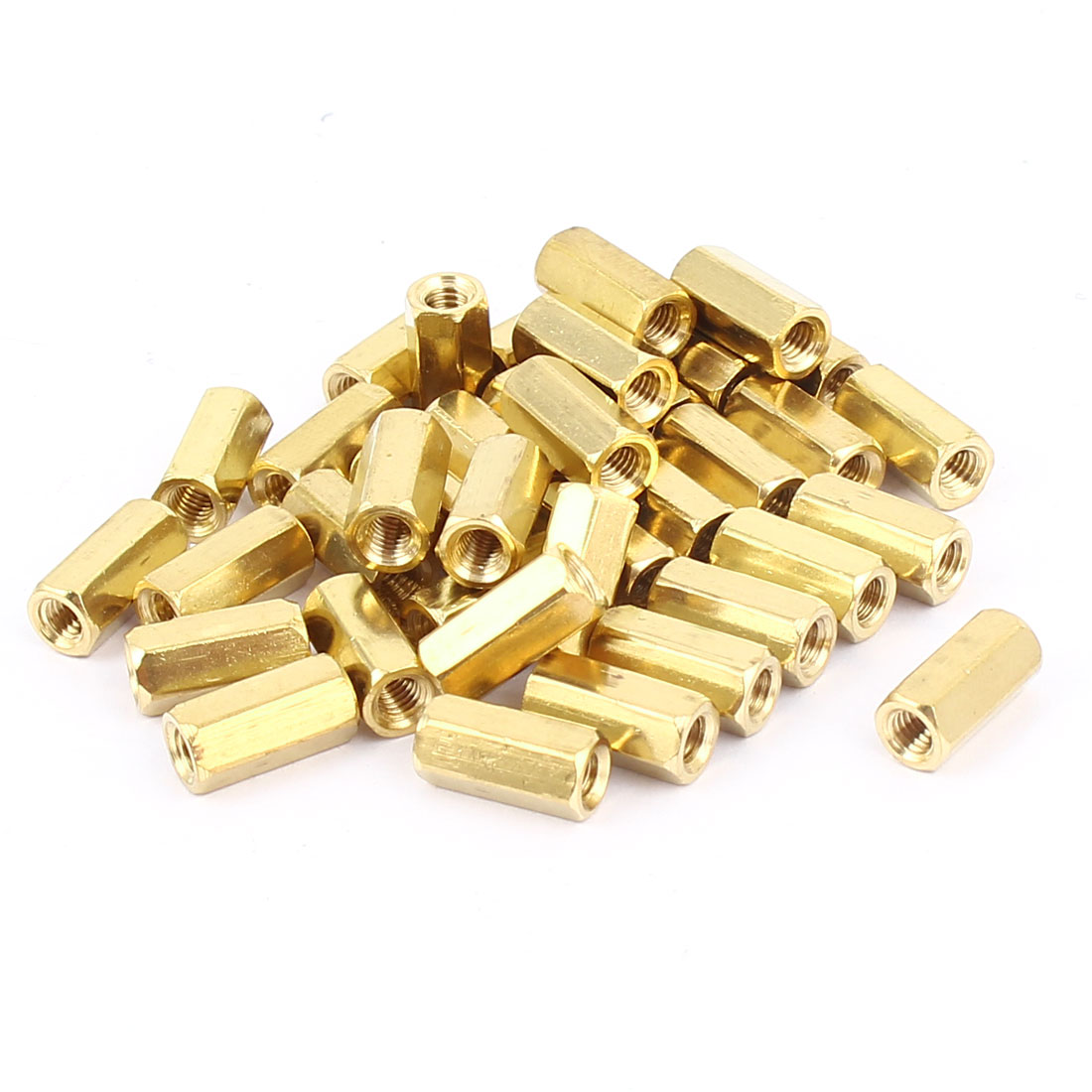38 Pcs M3x10mm Female Brass Spacer Hex Standoff Screw Pillar Gold Tone