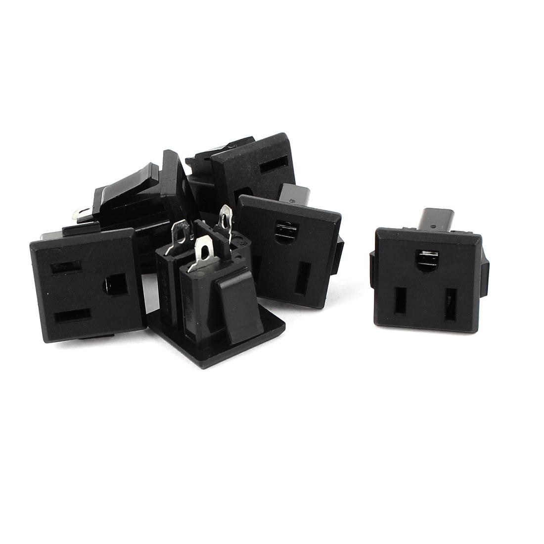 6 Pcs AC 125V 15A Panel Mount Power Socket Connector Black for US 2Pin Plug