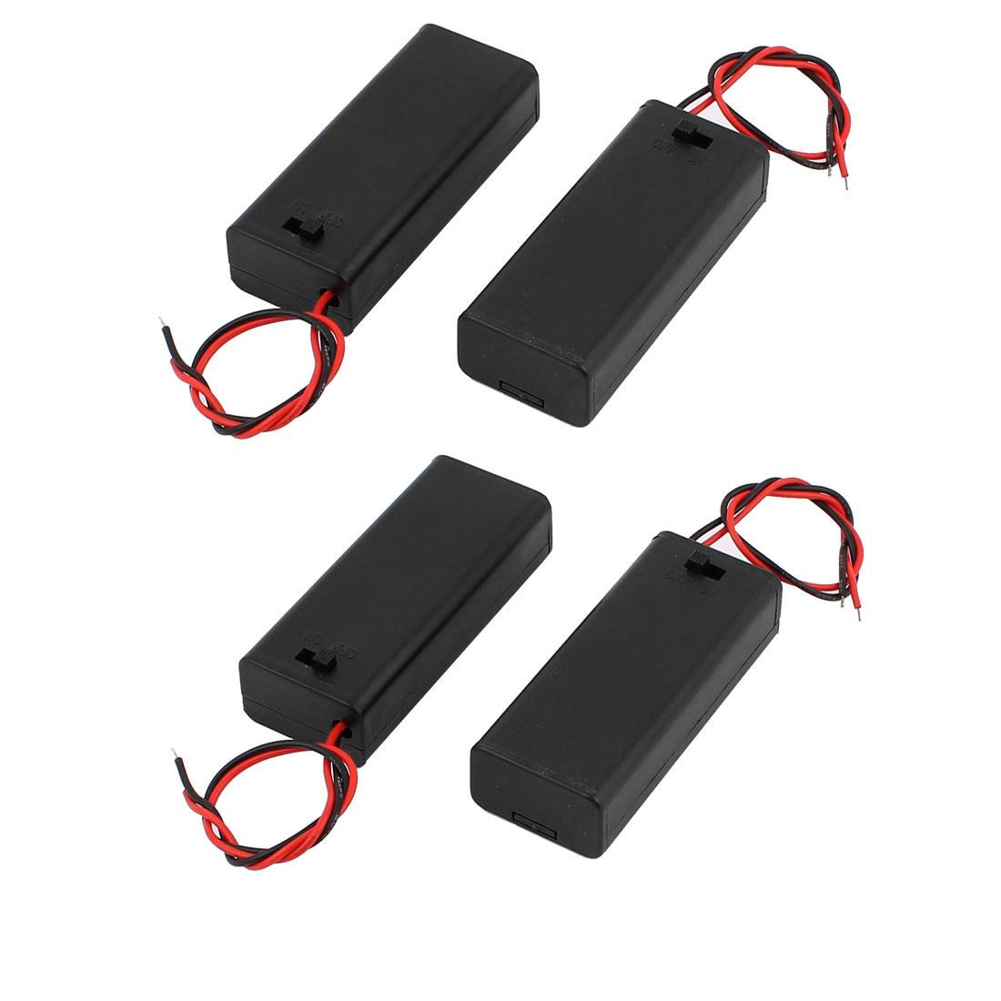 4 Pcs 2 x 1.5V AAA Switch Battery Holder Plastic Shell Case Storage Black