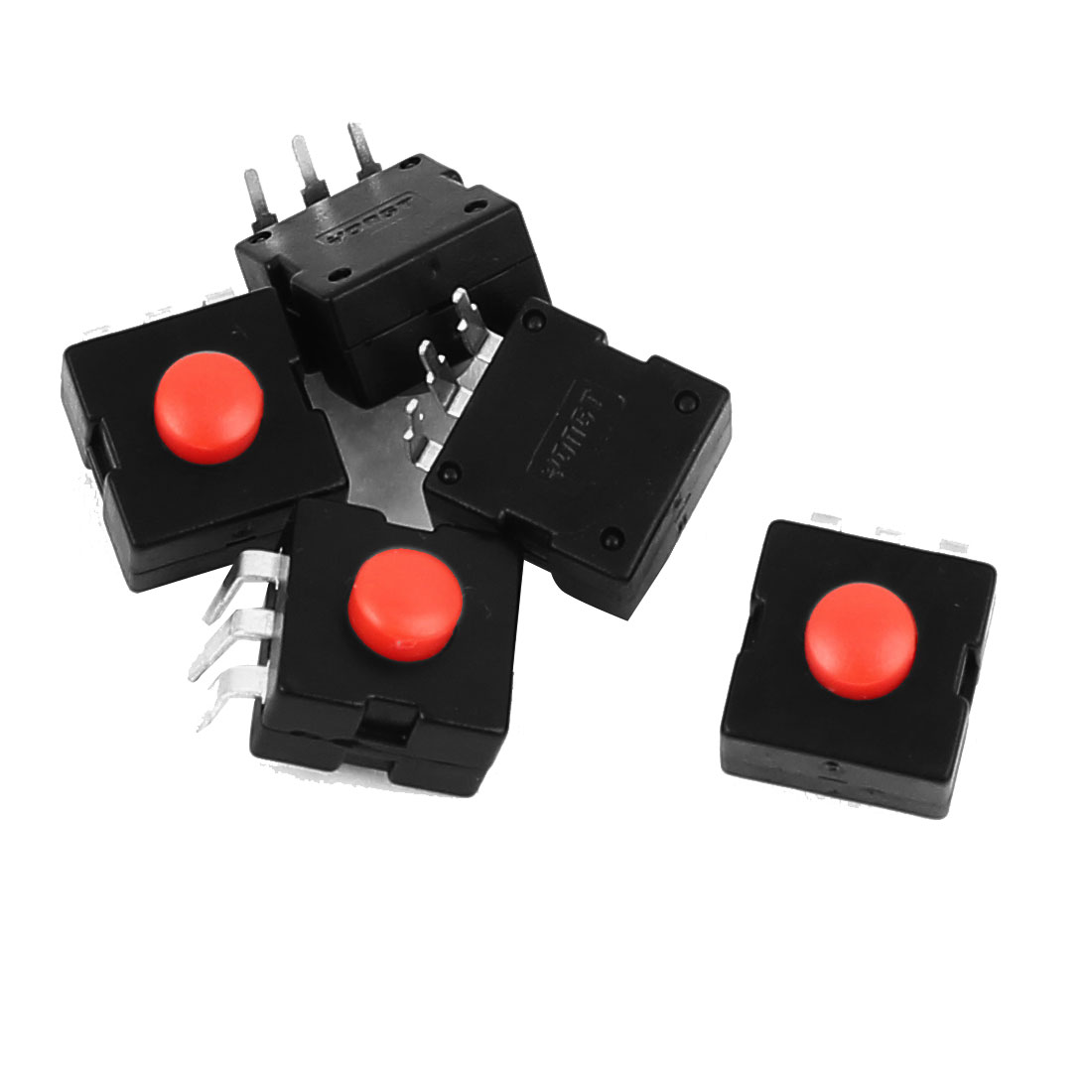5 Pcs Vertical 3 Terminals Momentary Square Torch Push Button Switch Black