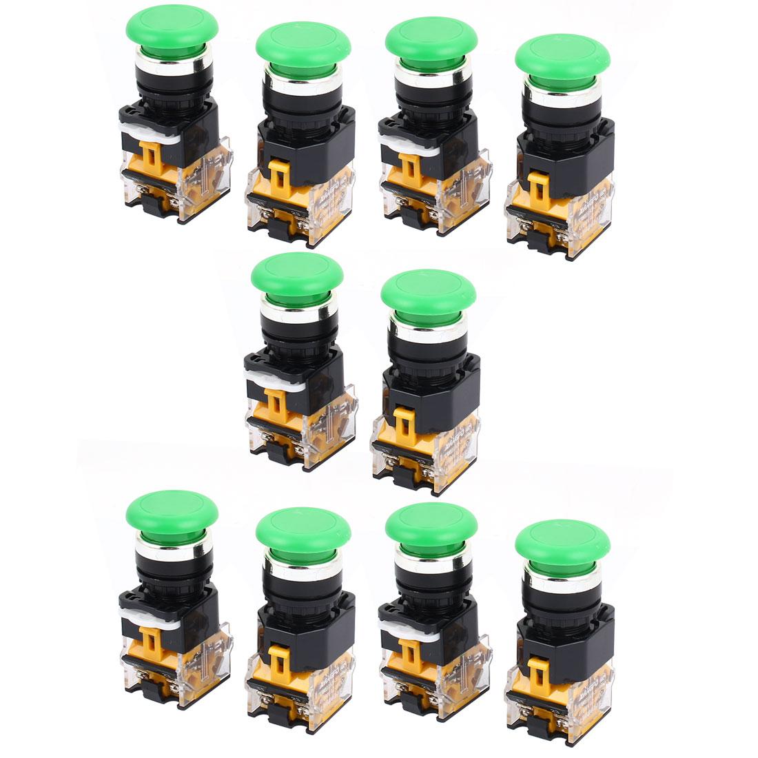 AC 660V 5A 4 Terminals NO/NC Momentary Green Push Button Switch 10PCS