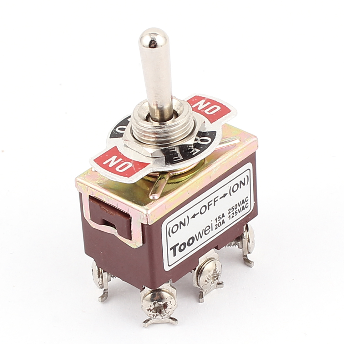 250VAC 15A 125VAC 20A 6 Screw Terminals DPDT 3 Position ON/OFF/ON Momentary Toggle Switch