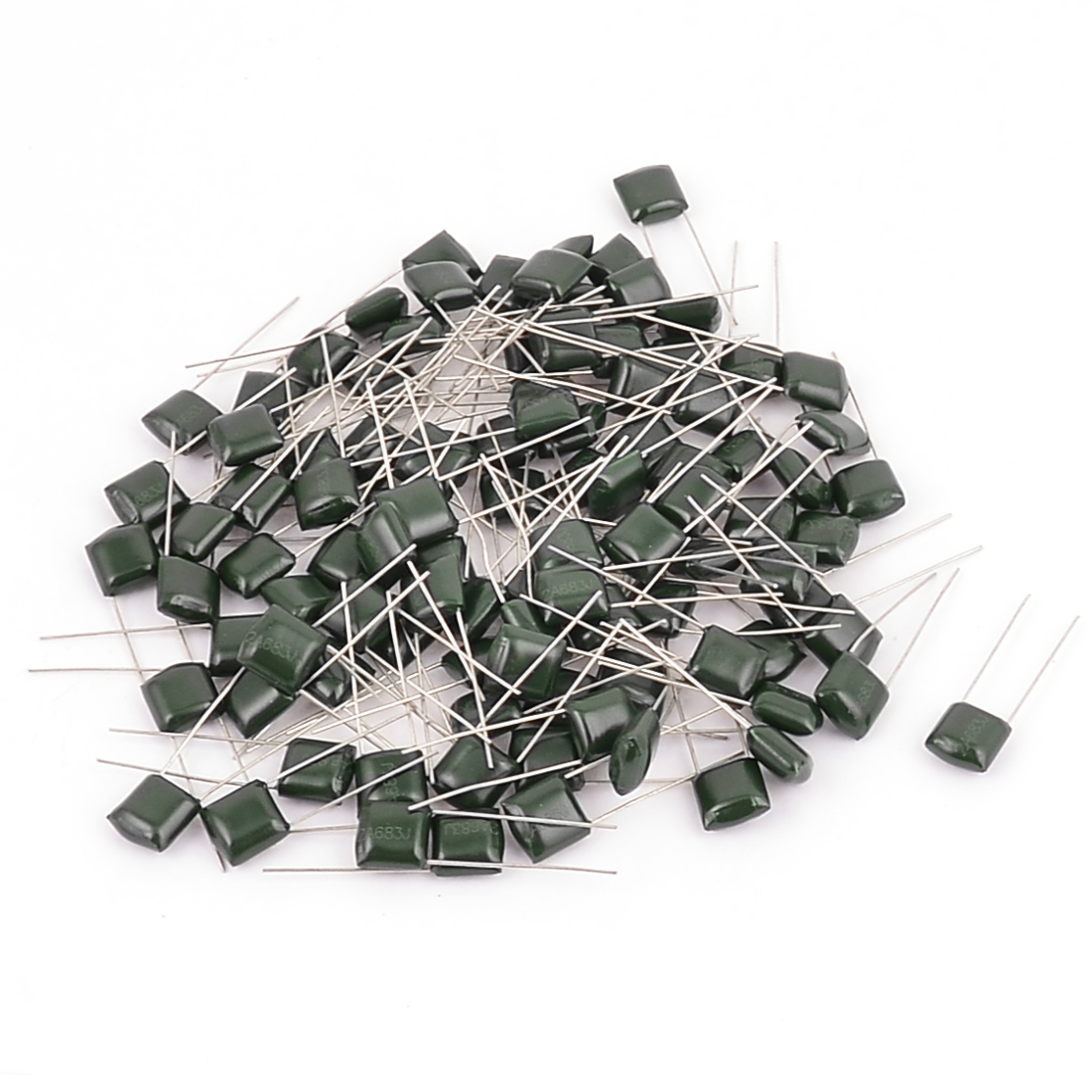 100pcs 2A683J 100V 0.068uF 5% Radial Lead Polyester Film Capacitor