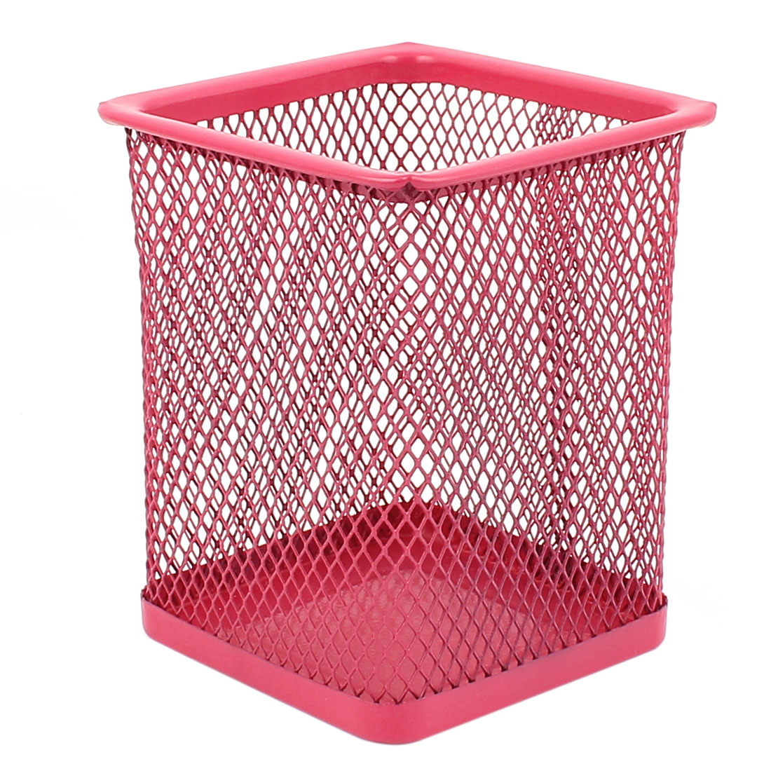 Office School Metal Mesh Cuboid Design Pen Pencils Holder Storage Box Red