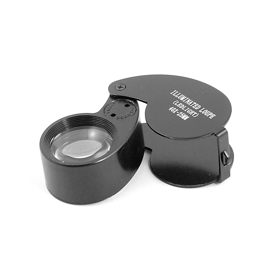 Pocket Magnifying Jewelry Eye Loupe 2 LED Light 4X Magnifier Black