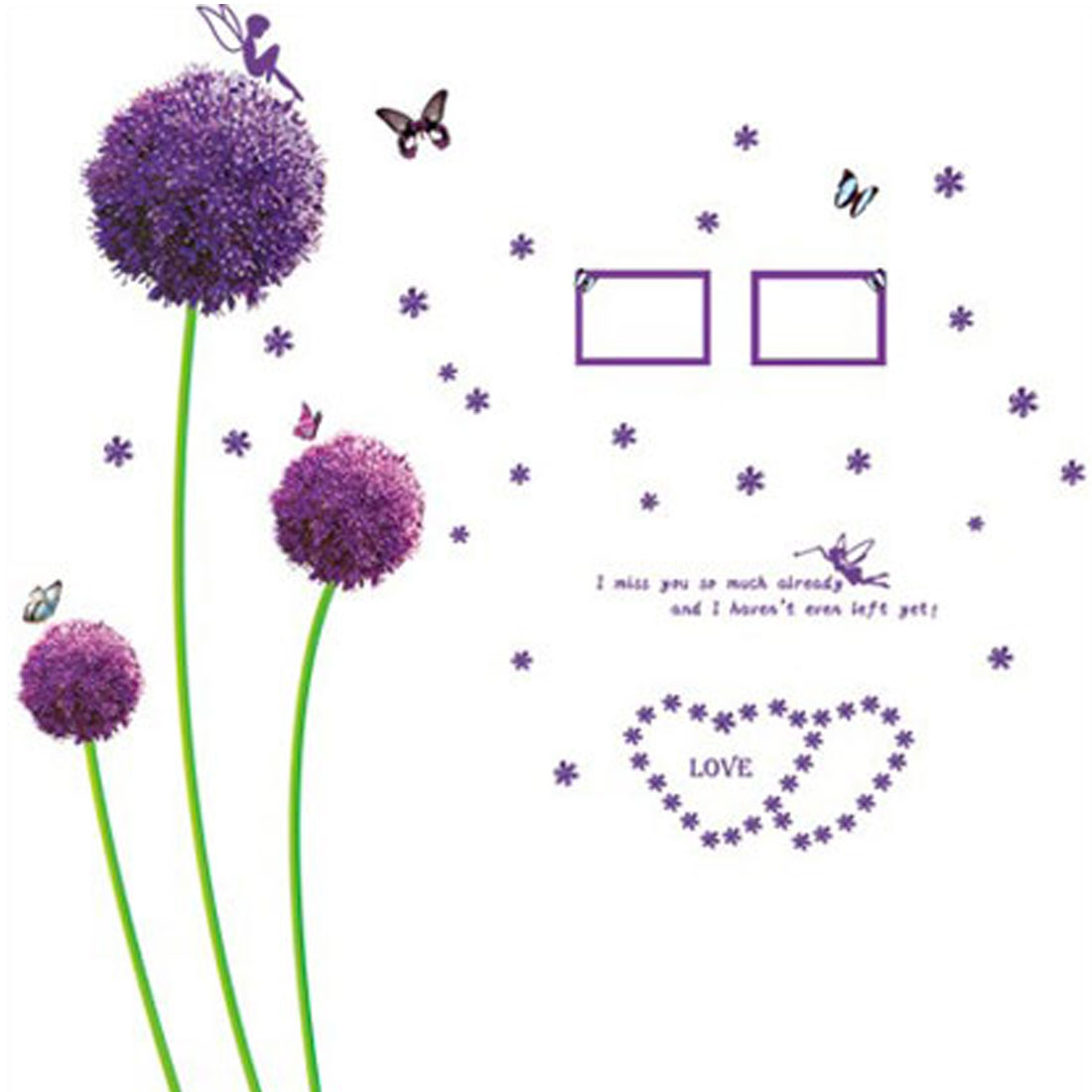 Home Room Purple Flowers Pattern Wall Sticker Mural DIY Decal Decor
