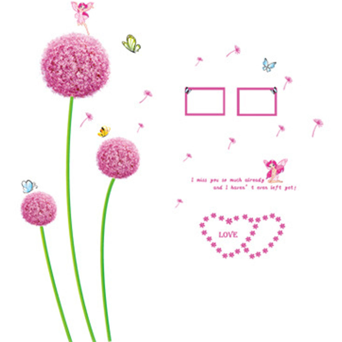 Flower Dandelion Butterfly DIY Removable Wall Sticker Decal Wallpaper
