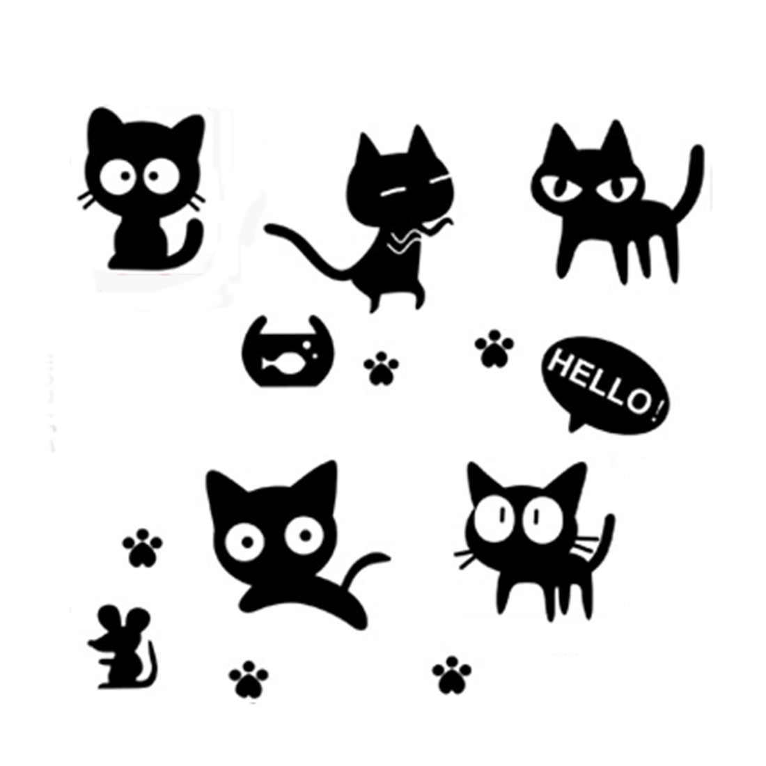 Black Cats Pattern Removable Wall Sticker Decal Wallpaper Room Decor