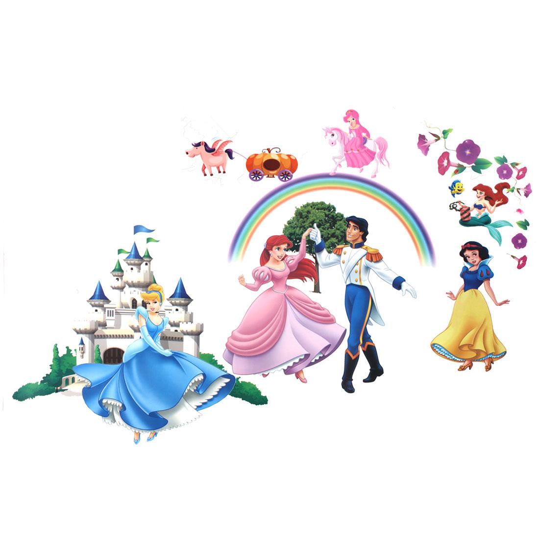 Cartoon Princess Prince Castle Design Wall Sticker Wallpaper Decor DIY