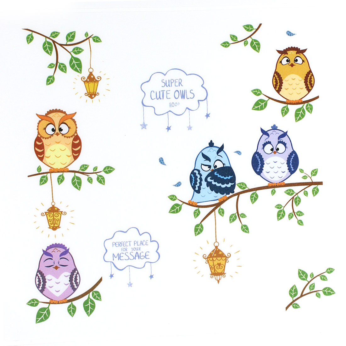 Owl Birds Branch Pattern Wall Sticker Home Room Decor DIY Wallpaper