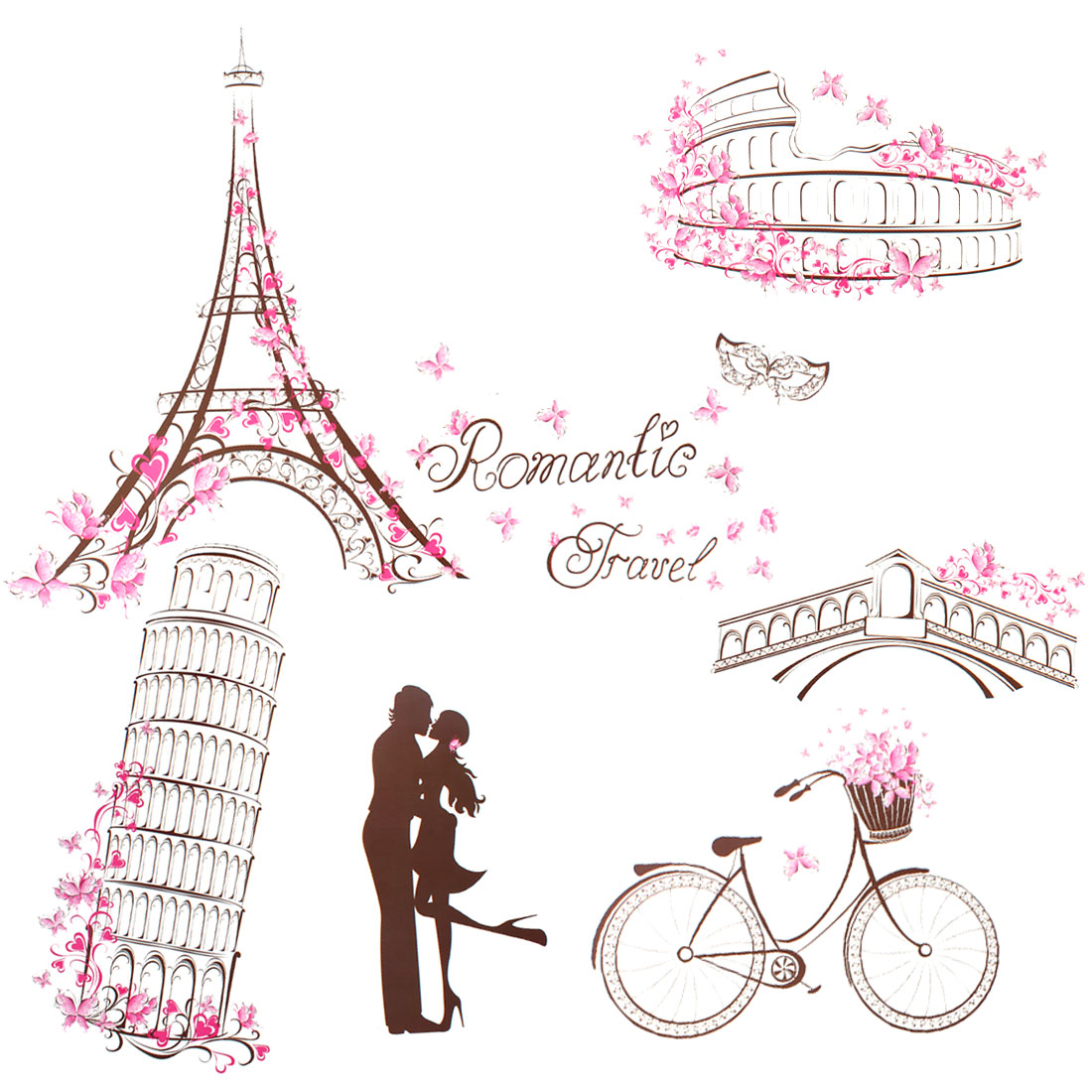 Lover Bike Butterfly Design Removable Wall Sticker Wallpaper DIY Room Decor