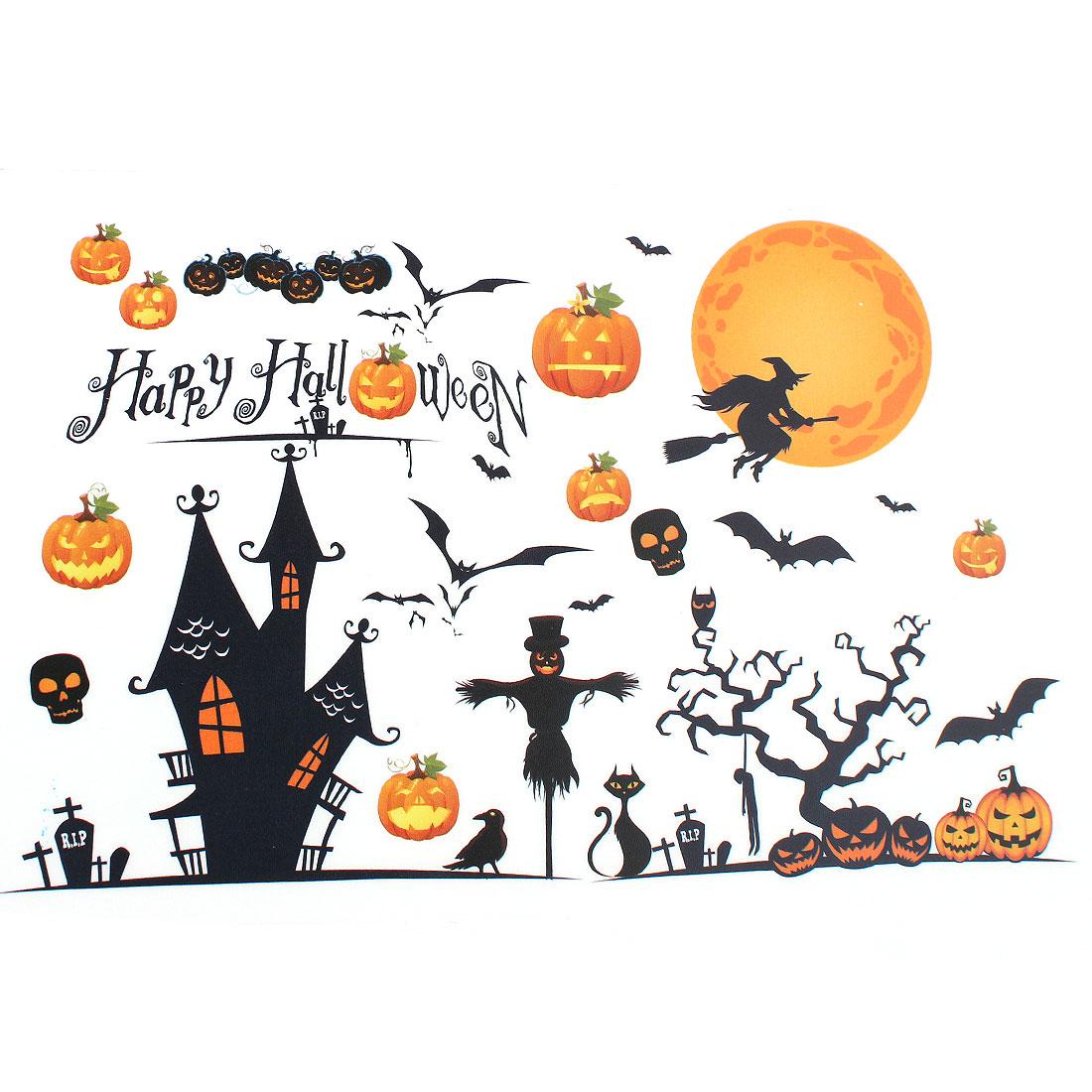 Halloween Pumpkin Witch Moon Bat Design PVC Wall Sticker DIY Wallpaper