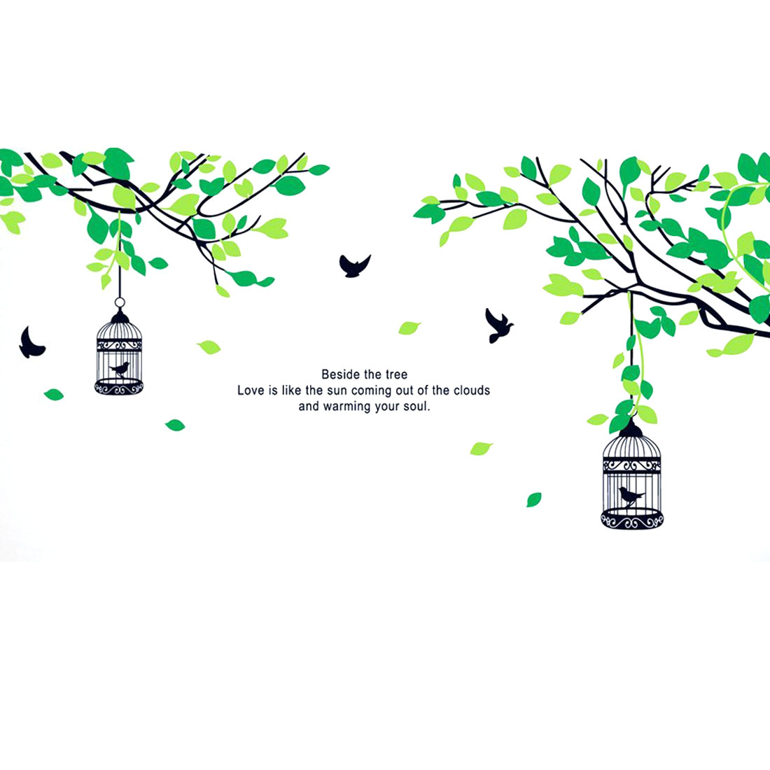 Green Tree Bird Cage Design Removable Wall Sticker Mural Background Decal