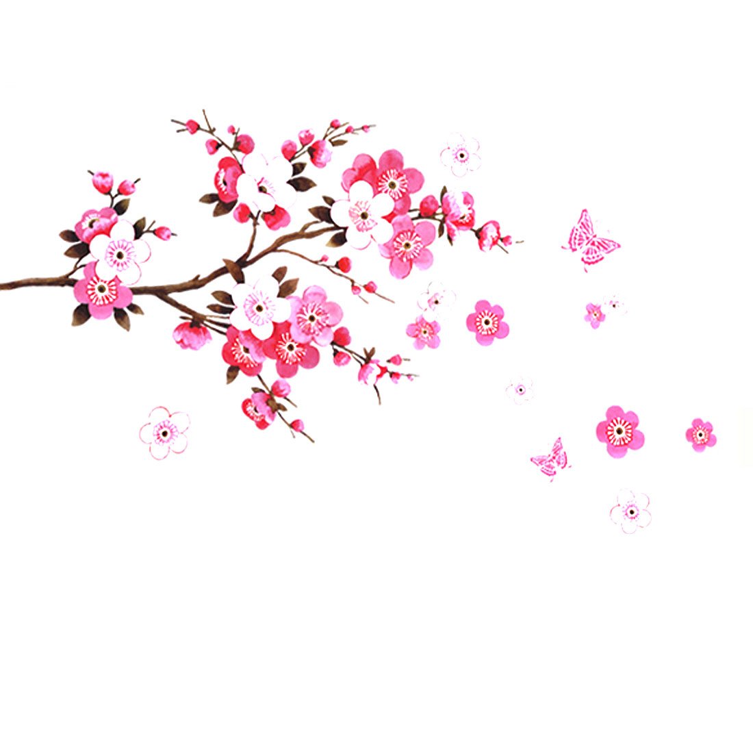 Room Peach Blossom Flower Butterfly Pattern Wall Sticker Decal Decor