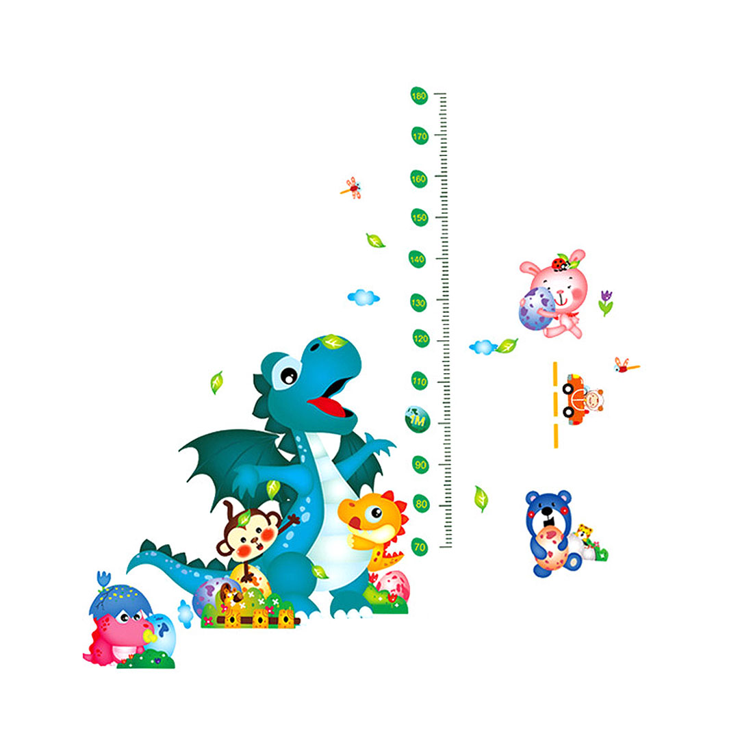 Home PVC Decor Cartoon Height Measure DIY Wallpaper Chart Pattern Wall Sticker Multi-color