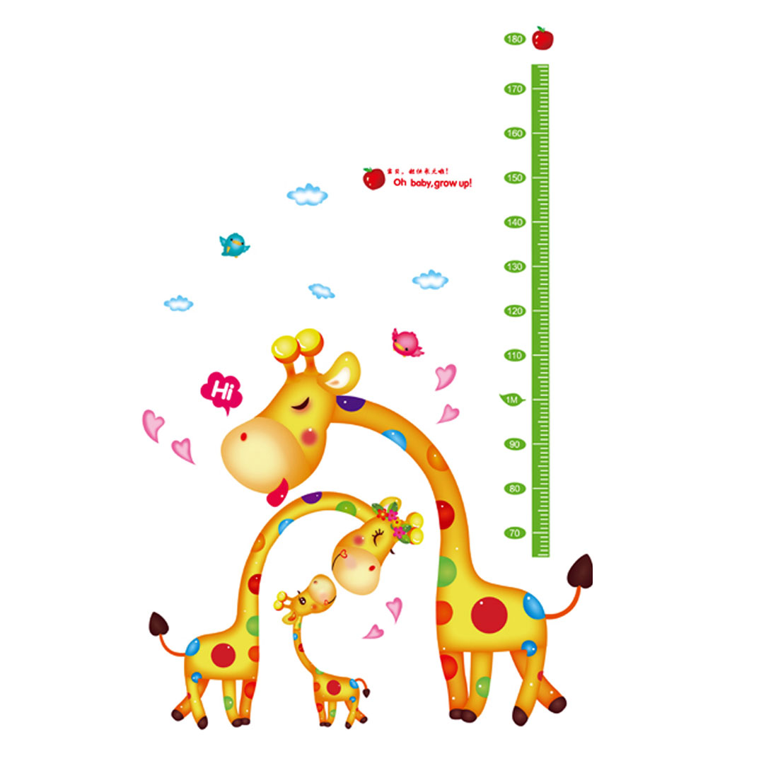 Cartoon Giraffe Height Chart Pattern Removable Wall Sticker Kid Room Decor