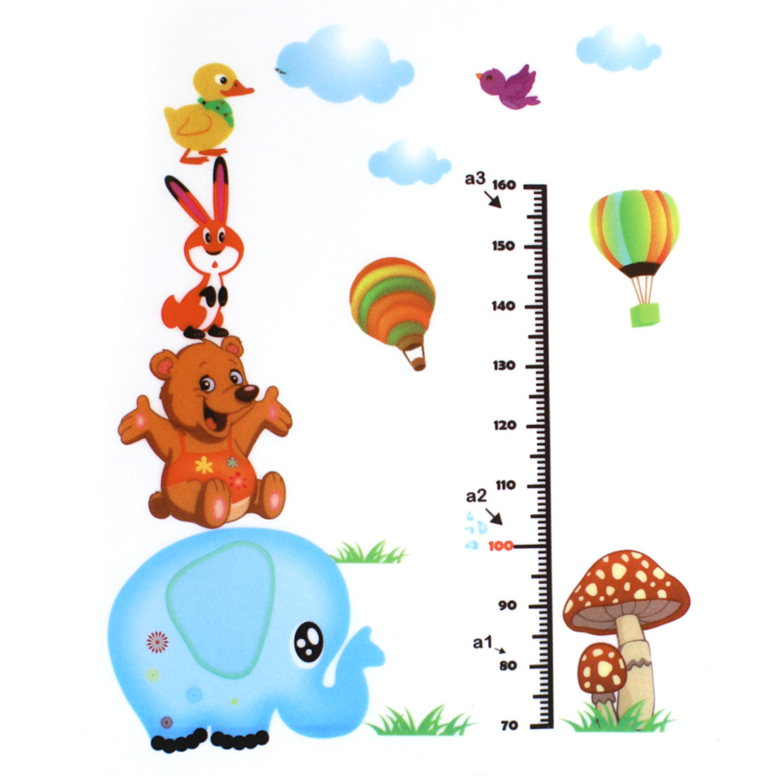 Kids Cartoon Height Measurement Chart PVC Wall Sticker Decal Wallpaper