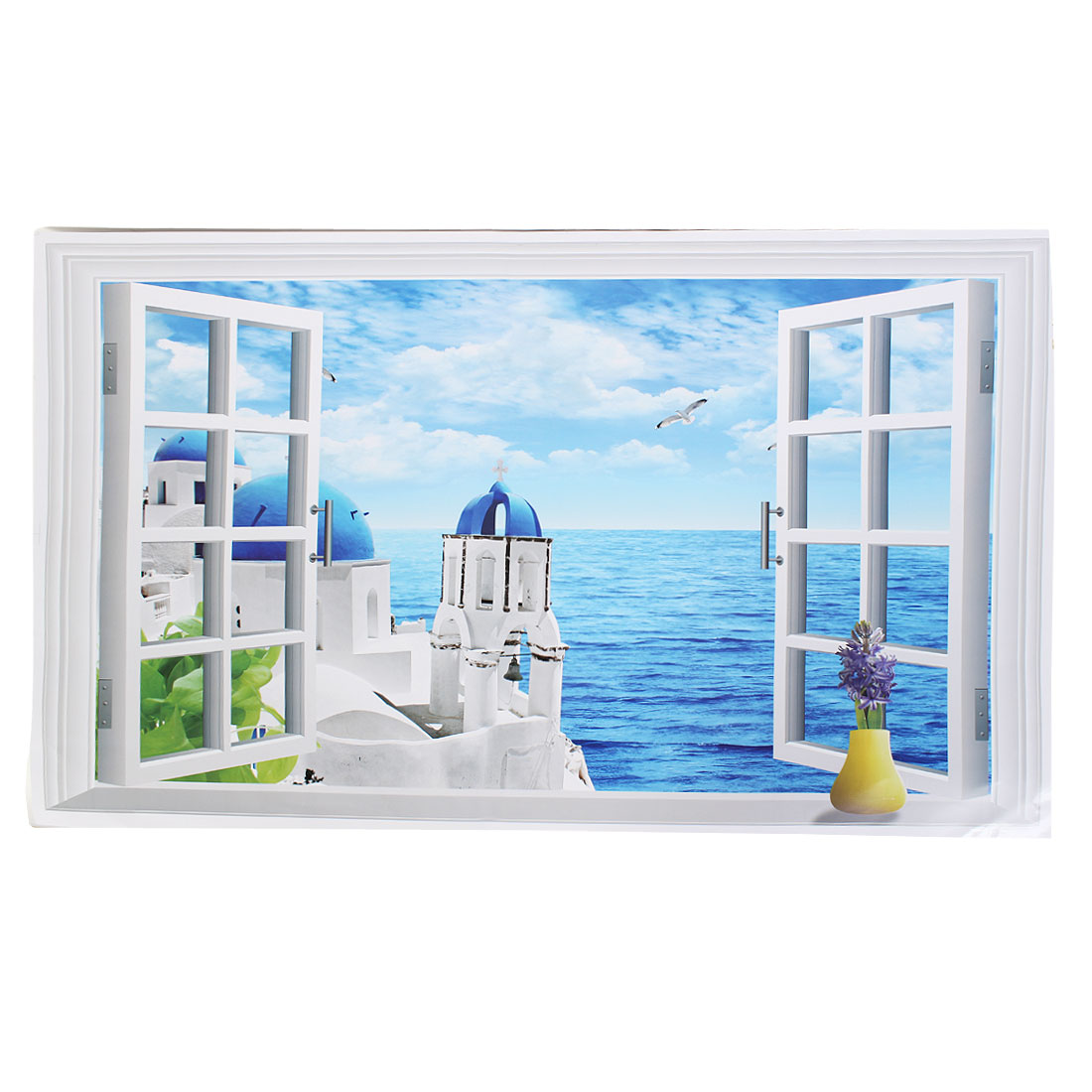 Home Room Fake Window Seaview Background PVC Wall Sticker Wallpaper