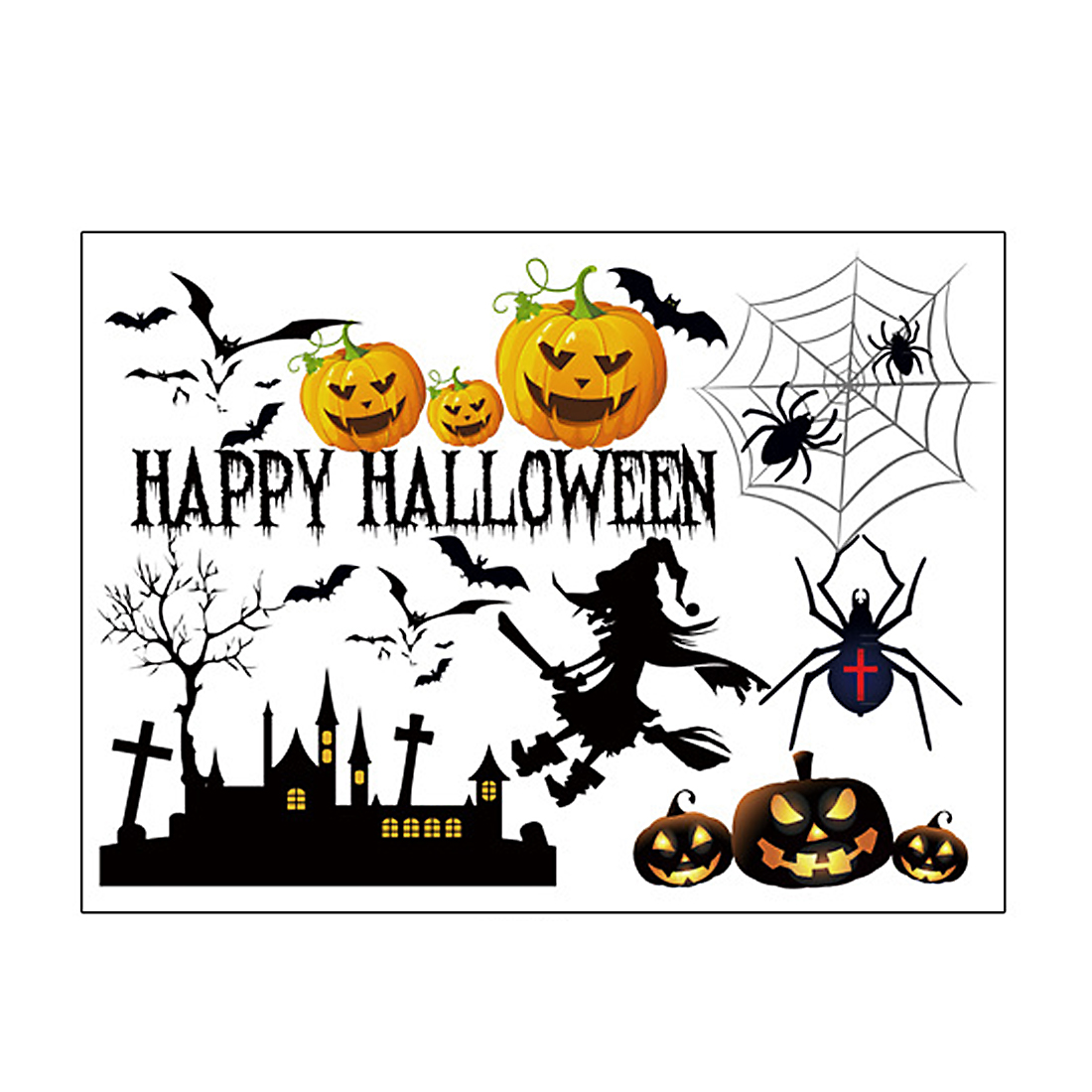 Halloween Pumpkin Witch Moon Bat Pattern Wall Sticker Decal Home Decor