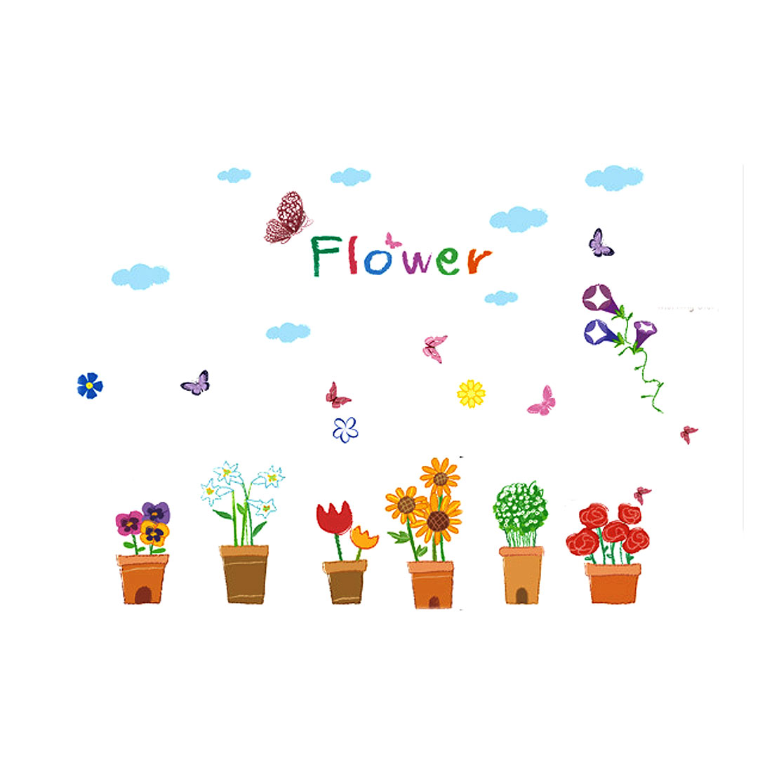 Cartoon Flower Pattern Removable Wall Sticker Room Decor DIY Decal