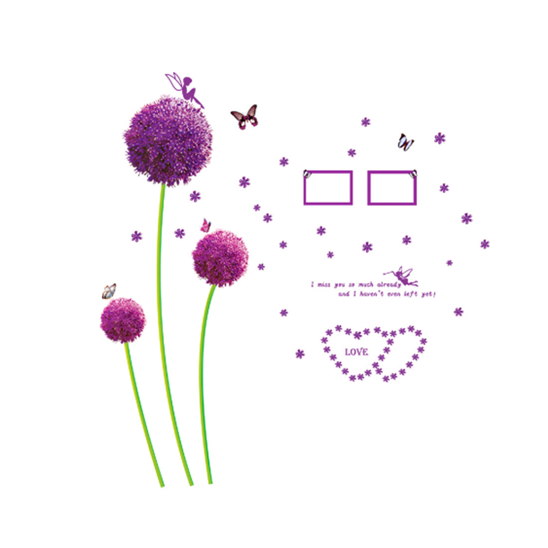 Purple Flowers Butterfly Pattern Removable PVC Wall Sticker Decal Decor